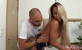 Beautiful tgirl Bruninha Almeida fucks her guy bareback